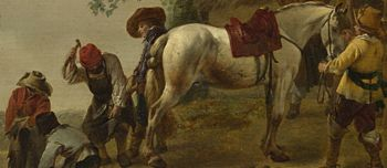 painting of farrier shoeing horse